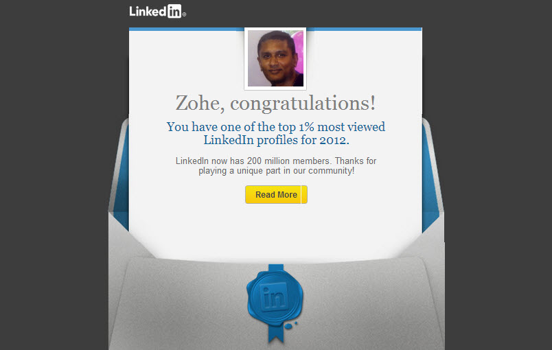 Linkedin Profile one of the top 1% most viewed LinkedIn profiles for 2012
