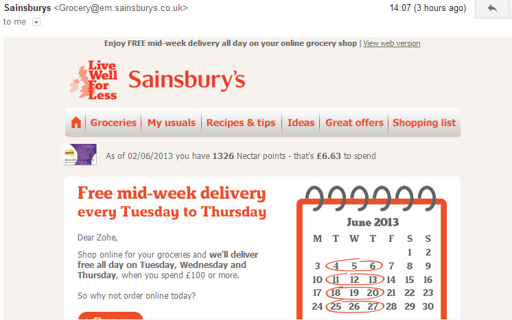 sainsbury's email marketing