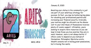 Aries Horoscope January 5, 2020