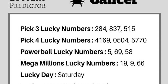 Cancer lucky lottery numbers for January 2020 from the Lottery Predictor horosco...