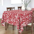 Tablecloth Zodiac Signs Astrology Paper Cutouts Floral Animals Red Cotton Sateen
