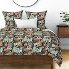 Astrology Star Sign Cards Illustration Zodiac Sun Sateen Duvet Cover by Roostery