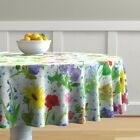 Round Tablecloth Astrology Zodiac Watercolor Flowers Hand Painted Cotton Sateen